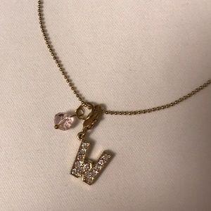 Rhinestone W monogram necklace